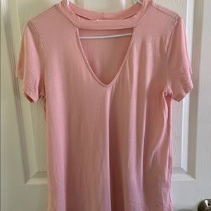 LUSH Light Pink V-Neck Cut Out Tee